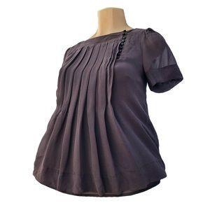 Beautiful Plum Brown Silk Polyester Petite Blouse